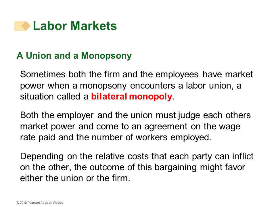 Labor Markets A Union and a Monopsony