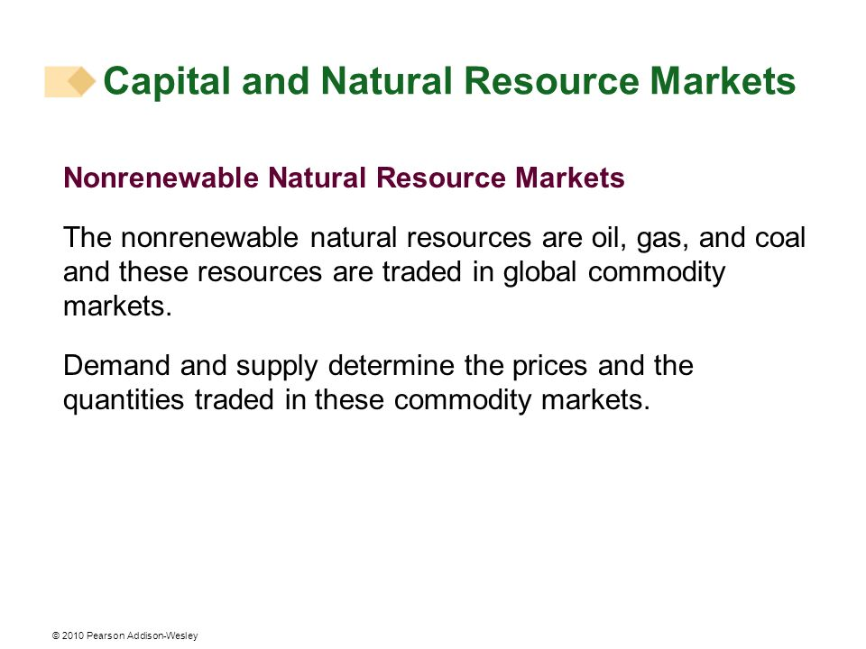 Capital and Natural Resource Markets