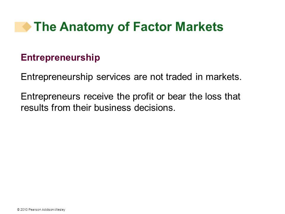 The Anatomy of Factor Markets