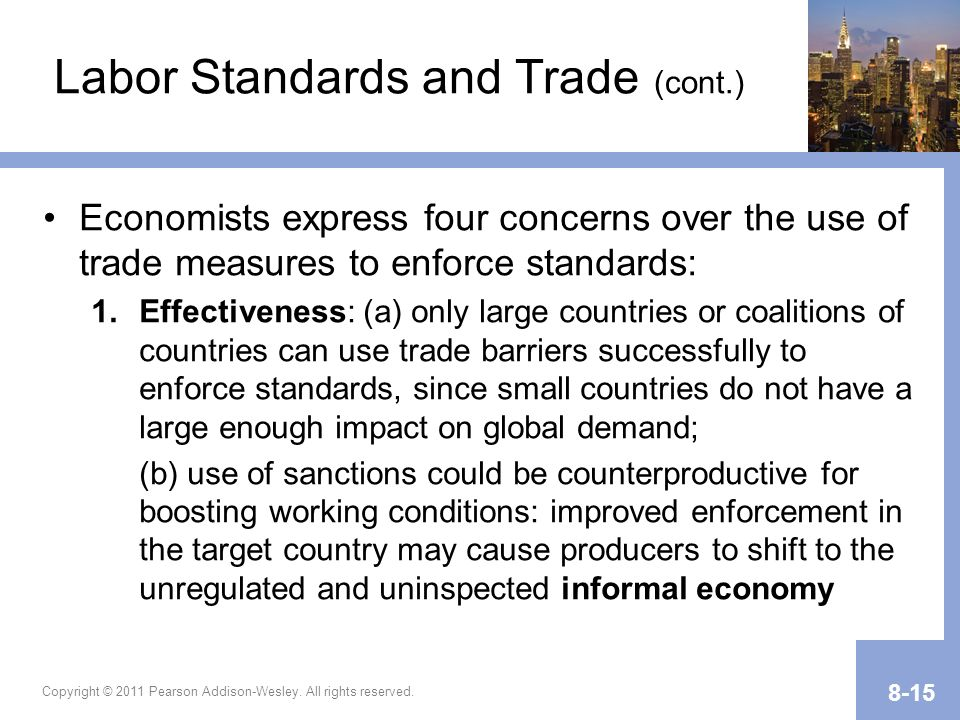 Labor Standards and Trade (cont.)