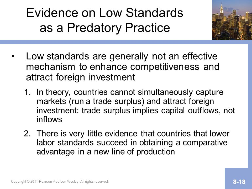 Evidence on Low Standards as a Predatory Practice