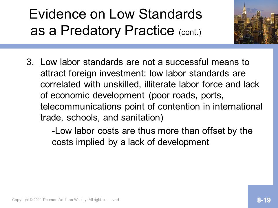 Evidence on Low Standards as a Predatory Practice (cont.)