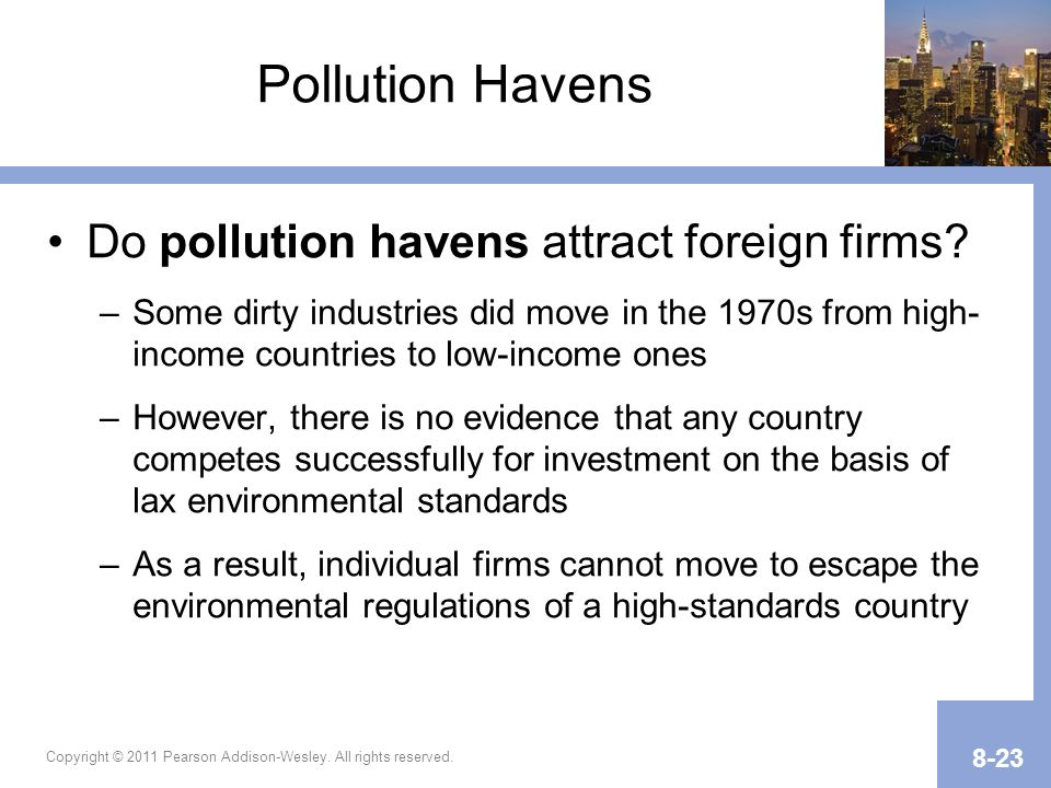 Pollution Havens Do pollution havens attract foreign firms