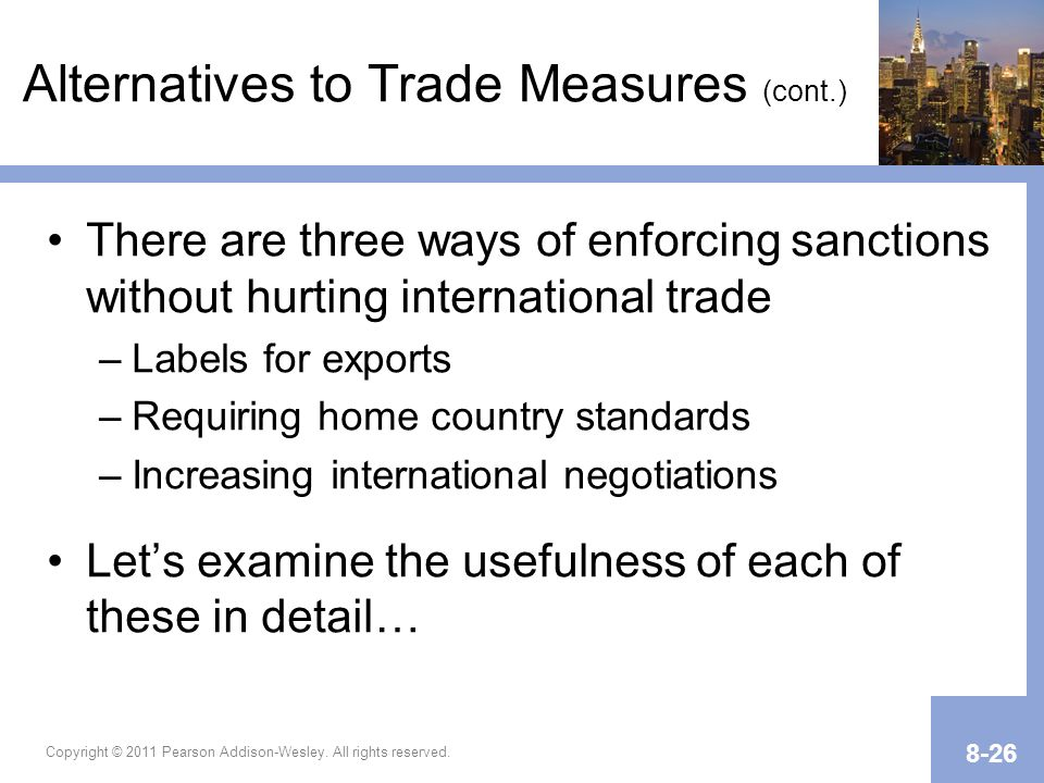 Alternatives to Trade Measures (cont.)