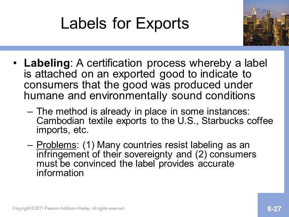 Labels for Exports