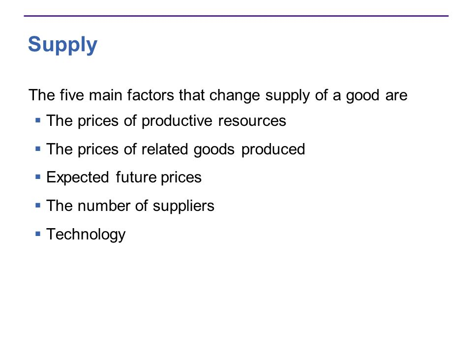 Supply The five main factors that change supply of a good are