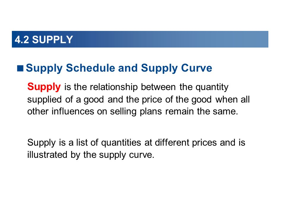 Supply Schedule and Supply Curve