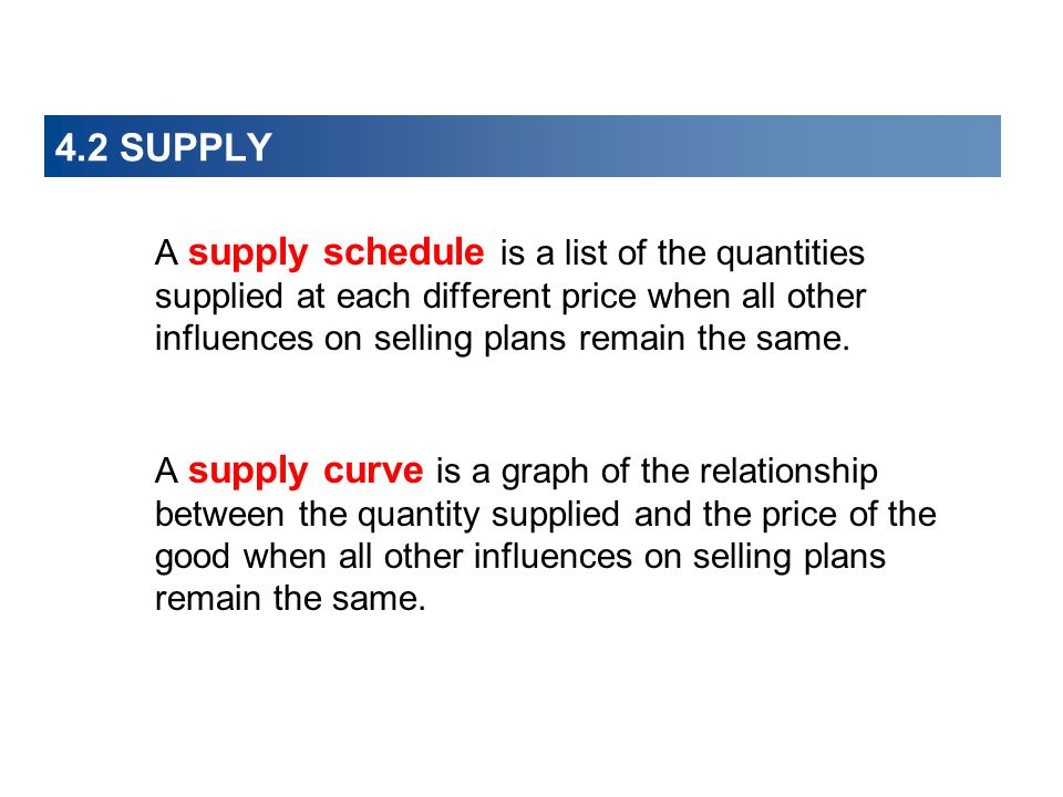 4.2 SUPPLY A supply schedule is a list of the quantities supplied at each different price when all other influences on selling plans remain the same.