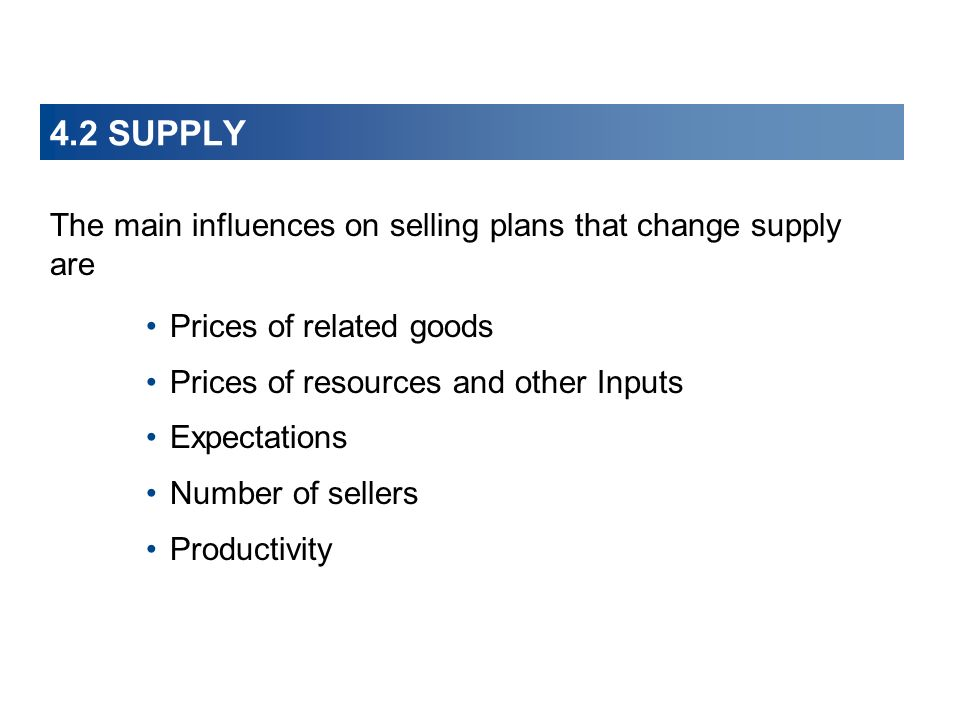 4.2 SUPPLY The main influences on selling plans that change supply are