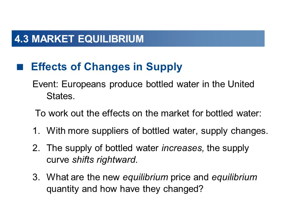 Effects of Changes in Supply
