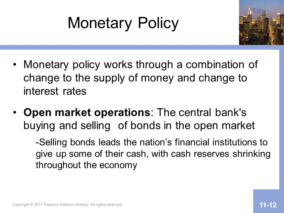 Monetary Policy Monetary policy works through a combination of change to the supply of money and change to interest rates.