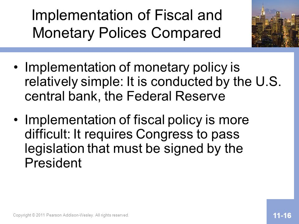Implementation of Fiscal and Monetary Polices Compared