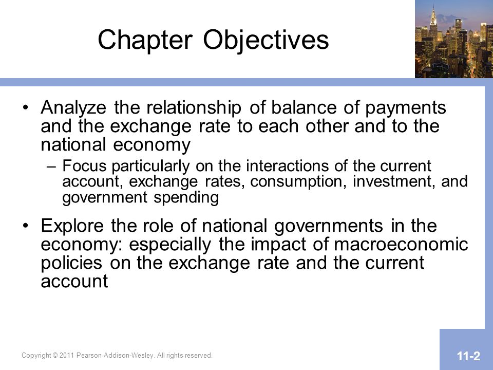 Chapter Objectives Analyze the relationship of balance of payments and the exchange rate to each other and to the national economy.