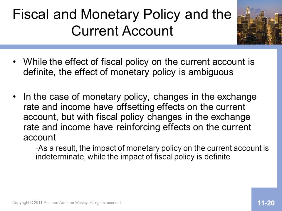 Fiscal and Monetary Policy and the Current Account