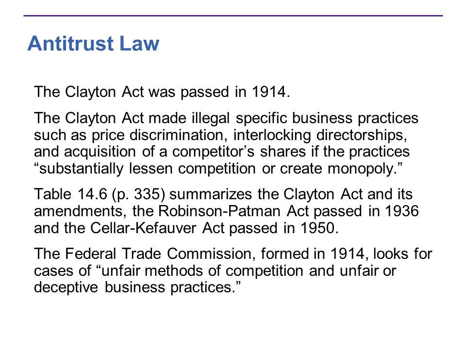 Antitrust Law The Clayton Act was passed in 1914.