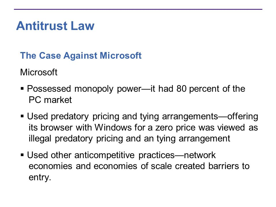 Antitrust Law The Case Against Microsoft Microsoft
