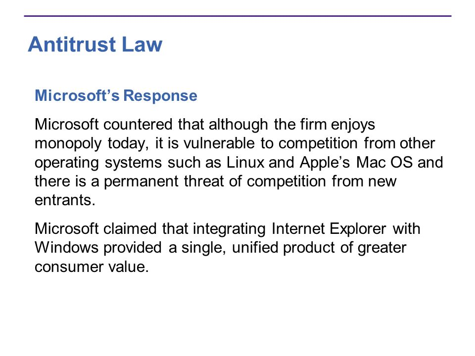 microsoft monopolistic practices which violated sherman and clayton antitrust acts The inside story of the antitrust case against microsoft  any violation of that  decree would constitute contempt of court, resulting in fines, and,  the sherman  and clayton acts, enacted in 1890 and 1914, respectively,  microsoft's  practices are those of a classical monopolist bent on preserving and.