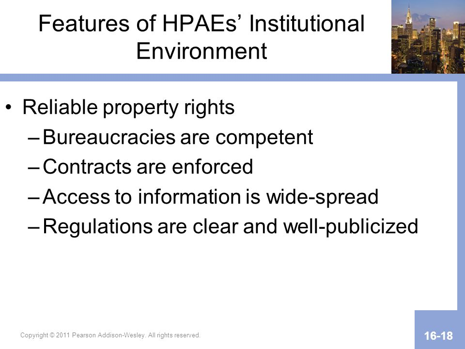 Features of HPAEs' Institutional Environment