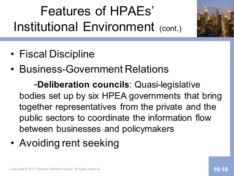 Features of HPAEs' Institutional Environment (cont.)