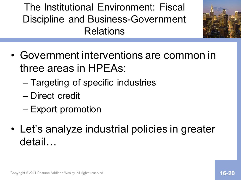 Government interventions are common in three areas in HPEAs: