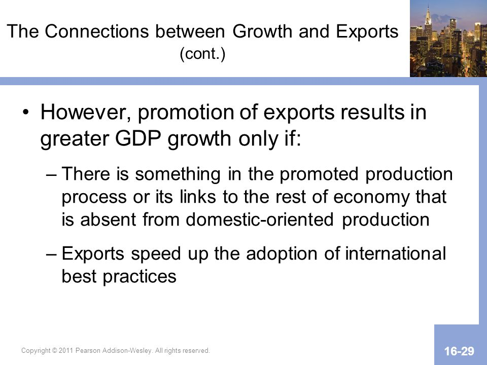 The Connections between Growth and Exports (cont.)
