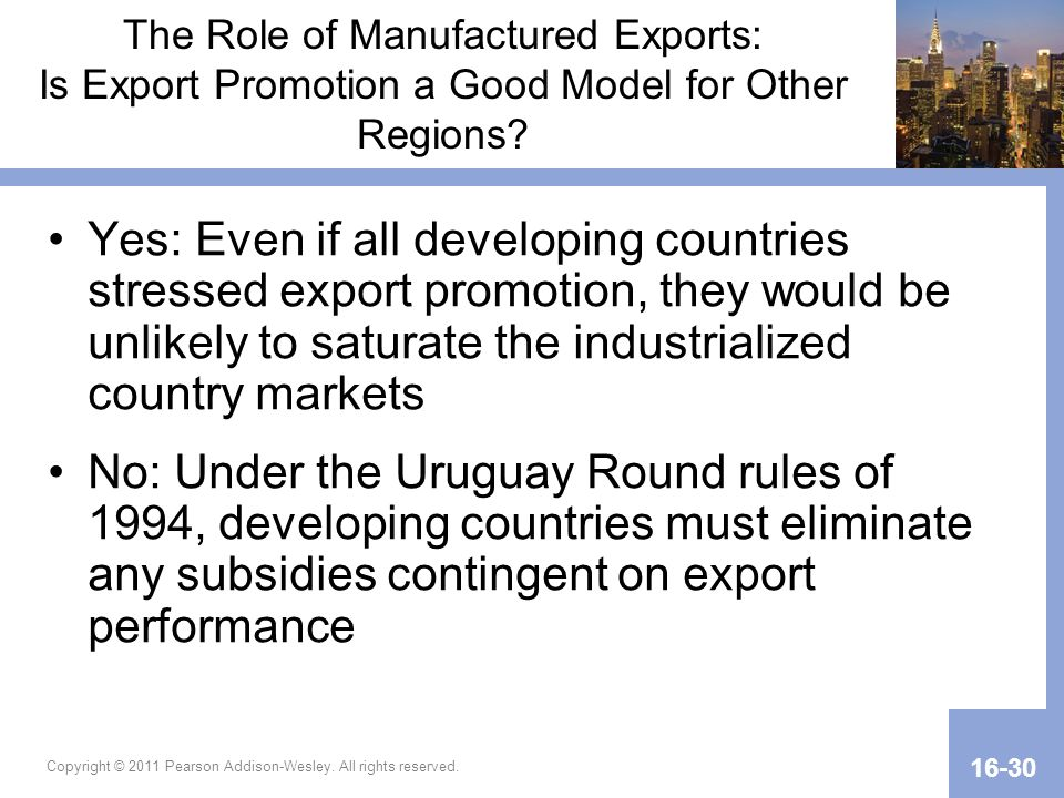 The Role of Manufactured Exports: Is Export Promotion a Good Model for Other Regions