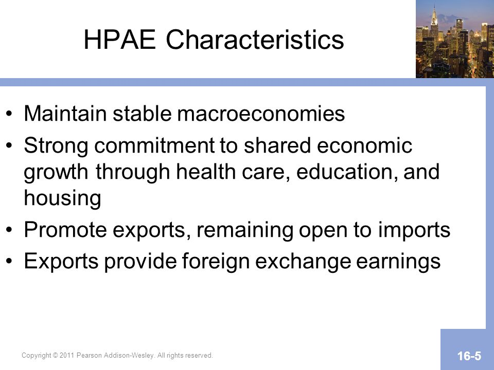 HPAE Characteristics Maintain stable macroeconomies