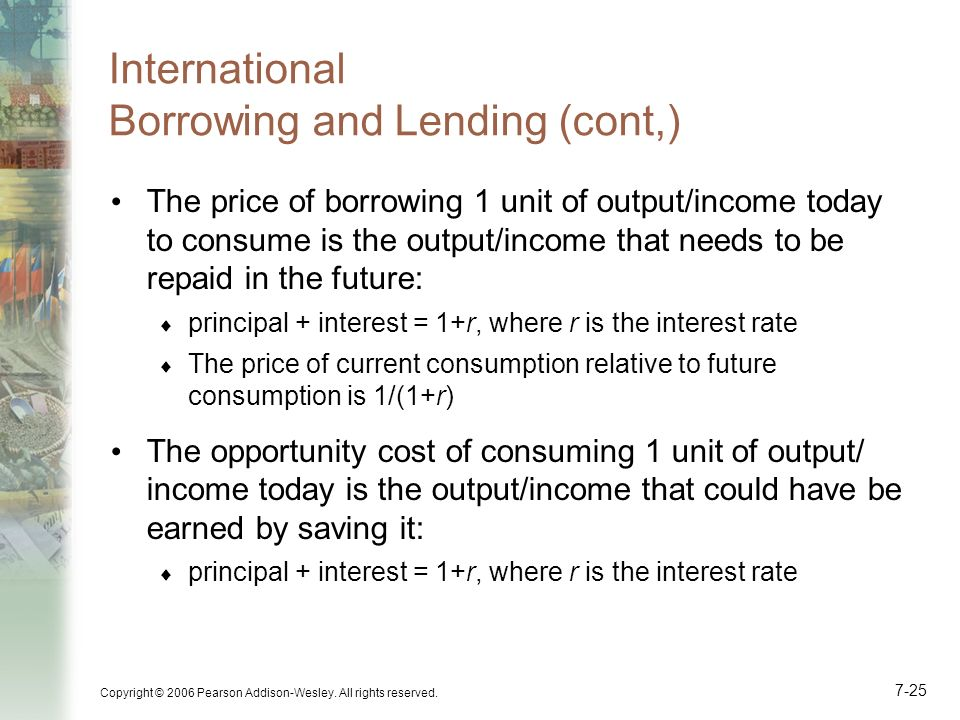 International Borrowing and Lending (cont,)