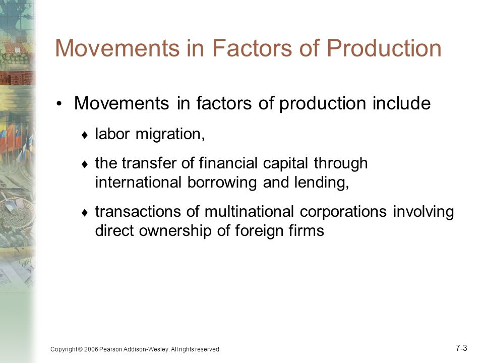 Movements in Factors of Production