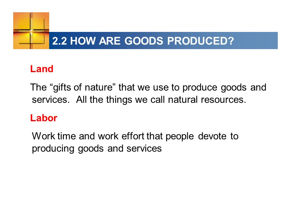 2.2 HOW ARE GOODS PRODUCED Land