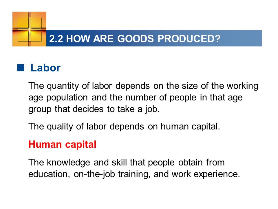 Labor 2.2 HOW ARE GOODS PRODUCED Human capital