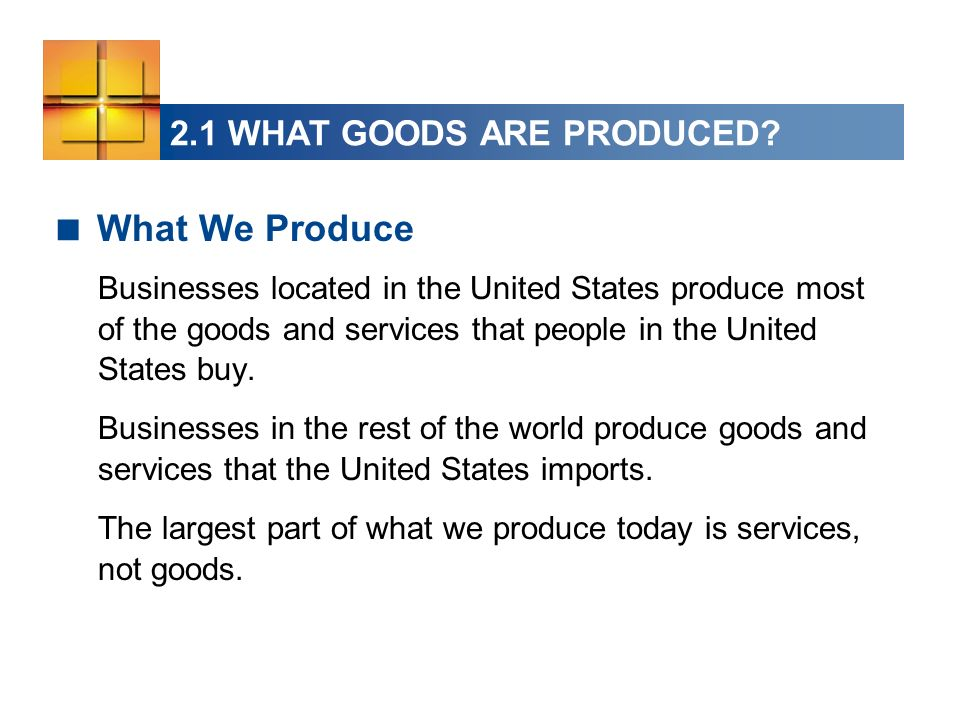 2.1 WHAT GOODS ARE PRODUCED