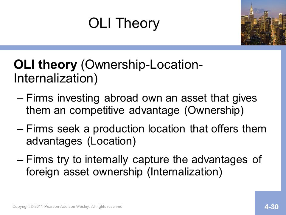 OLI Theory OLI theory (Ownership-Location-Internalization)