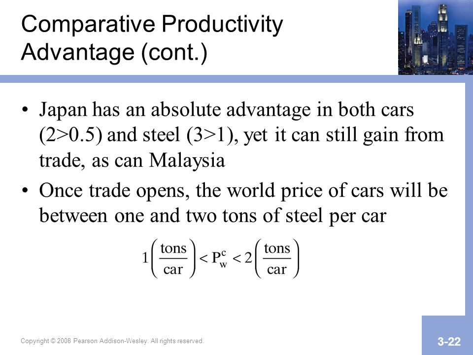 Comparative Productivity Advantage (cont.)