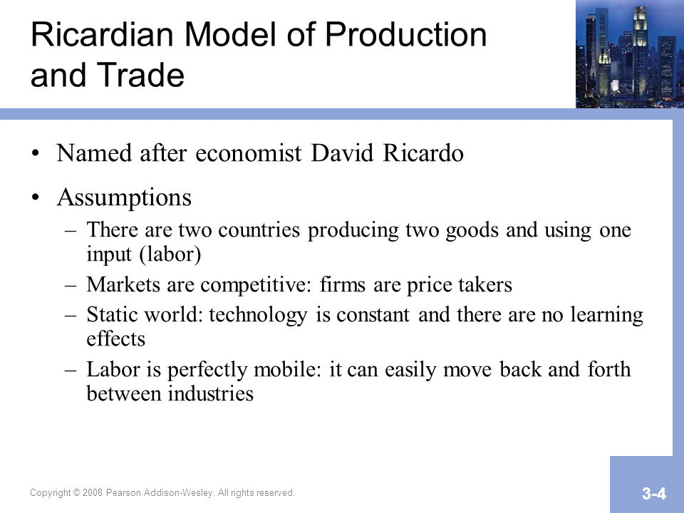 Ricardian Model of Production and Trade