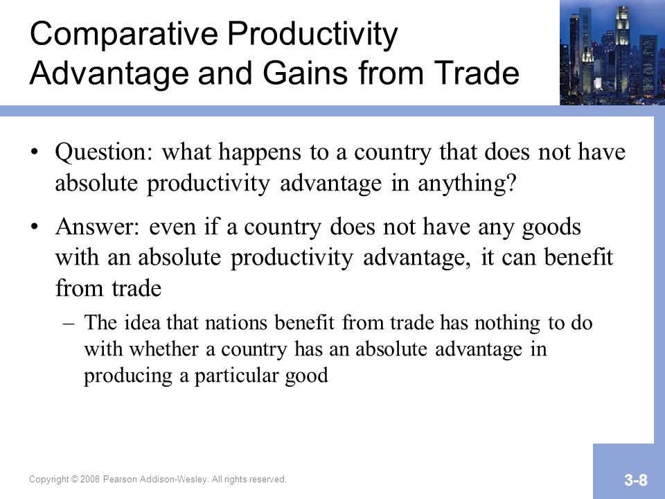 Comparative Productivity Advantage and Gains from Trade