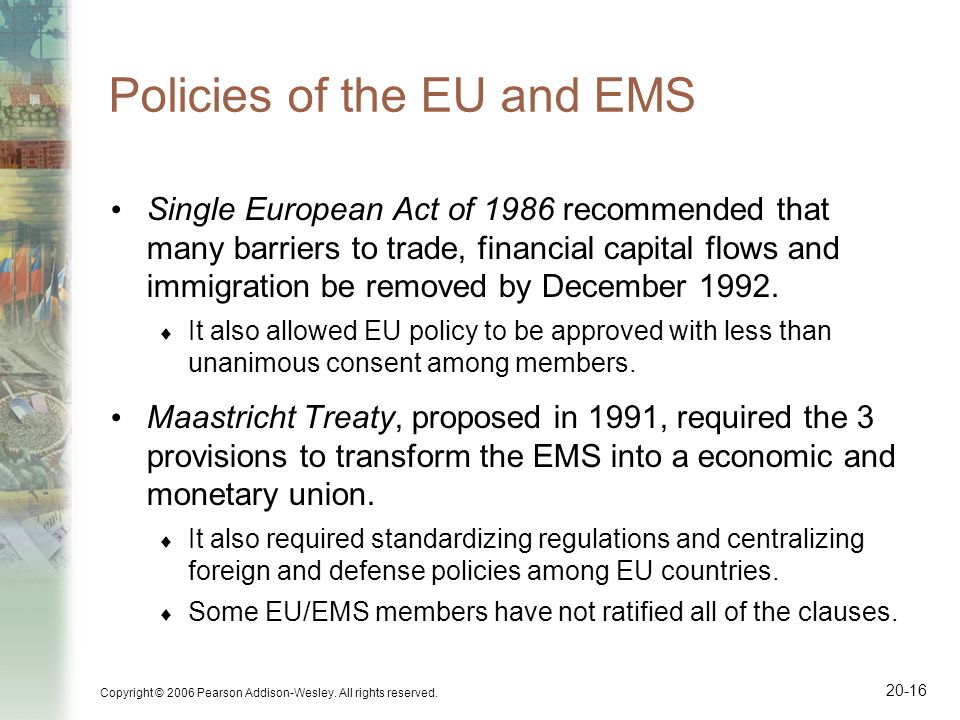 Policies of the EU and EMS