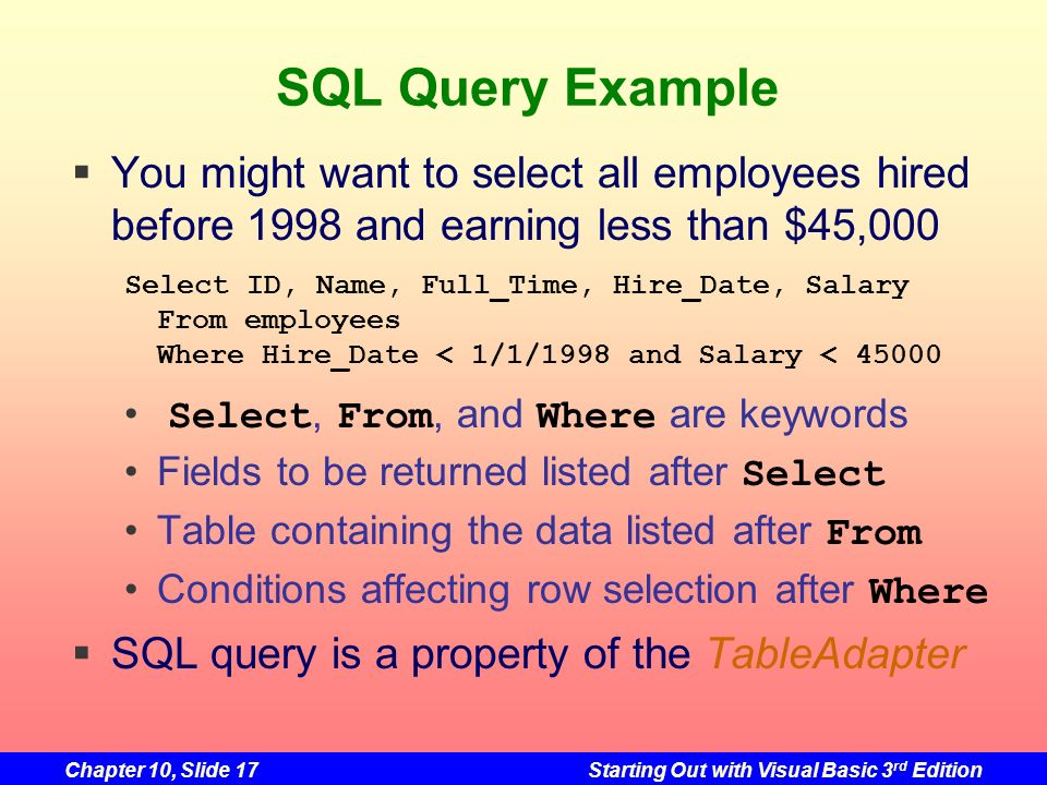 SQL Query Example You might want to select all employees hired before 1998 and earning less than $45,000.