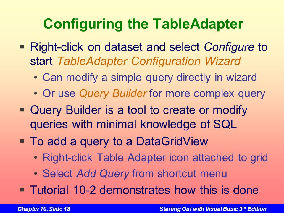Configuring the TableAdapter