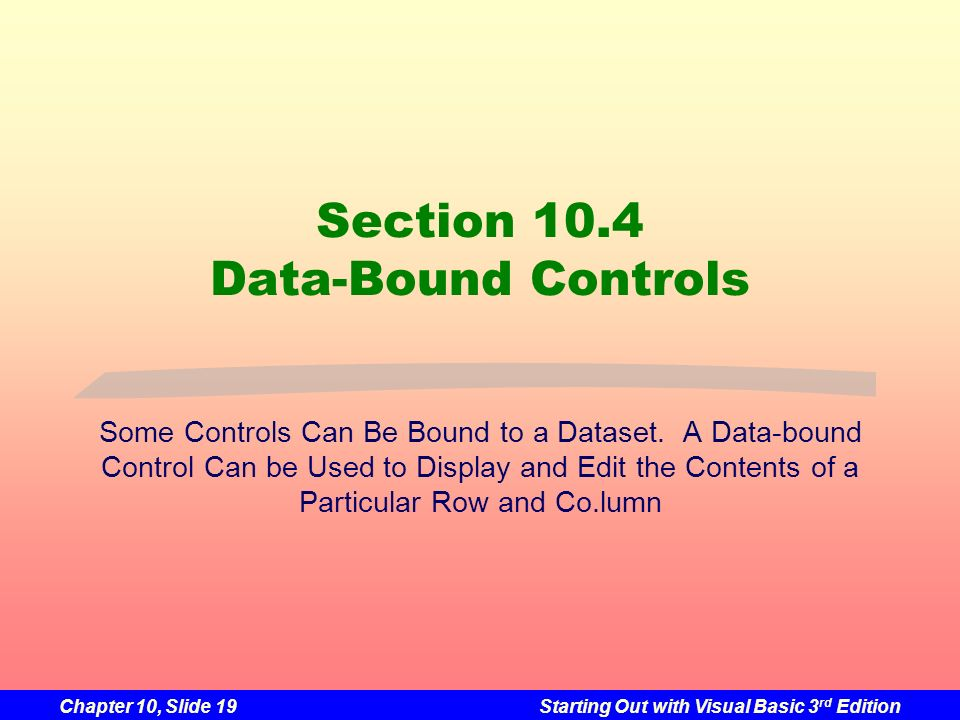 Section 10.4 Data-Bound Controls