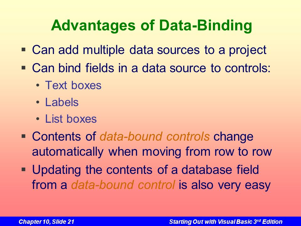 Advantages of Data-Binding