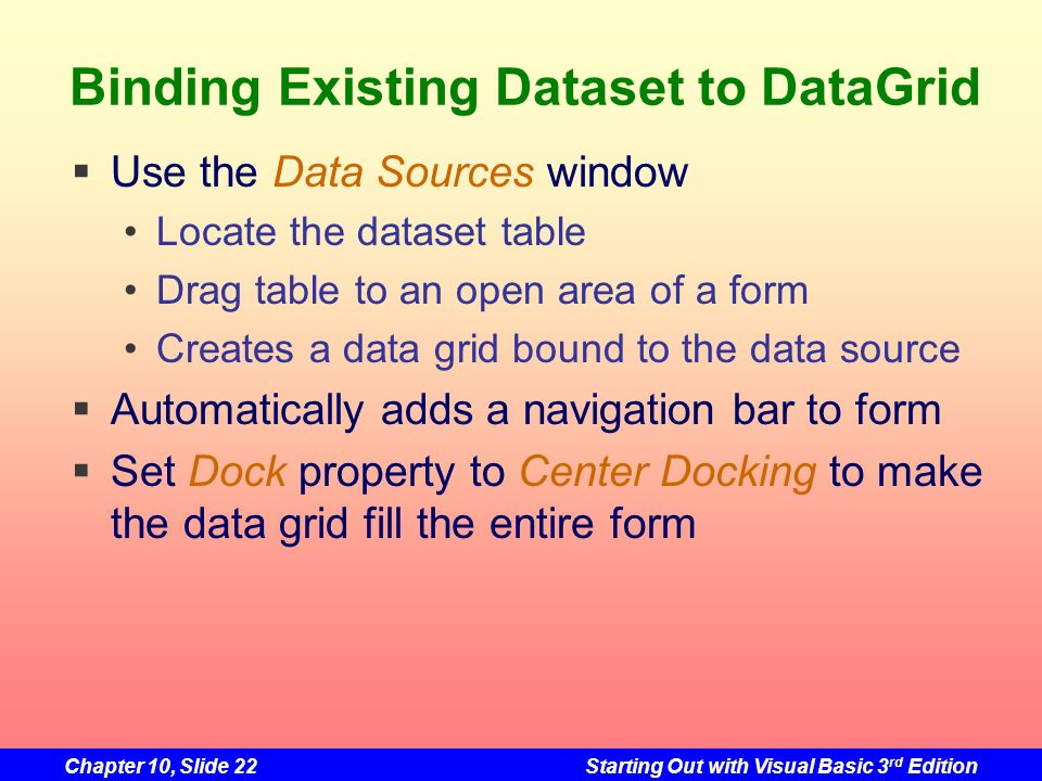 Binding Existing Dataset to DataGrid
