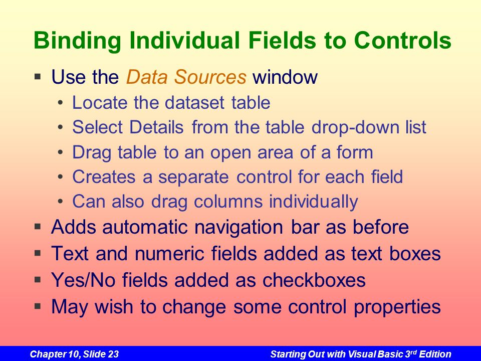 Binding Individual Fields to Controls