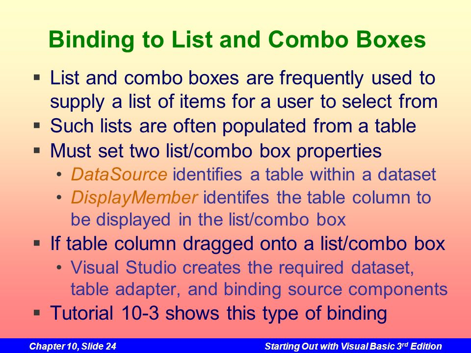 Binding to List and Combo Boxes