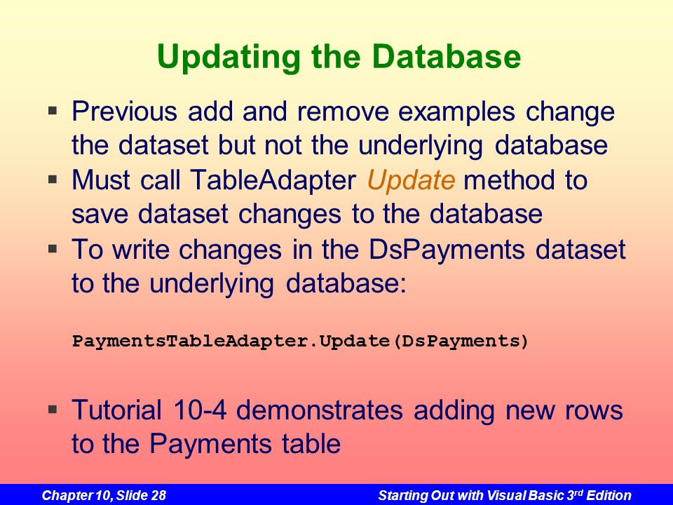 Updating the DatabasePrevious add and remove examples change the dataset but not the underlying database.