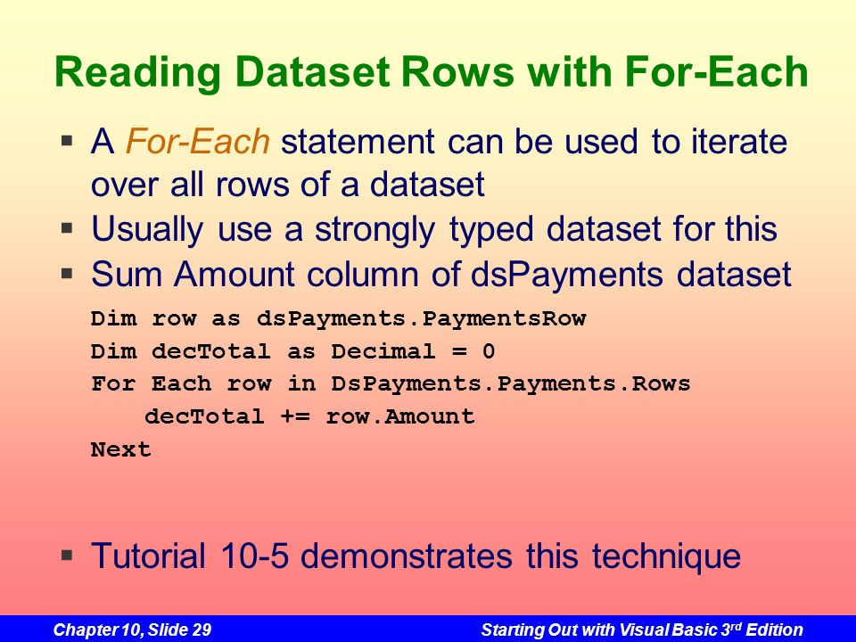 Reading Dataset Rows with For-Each