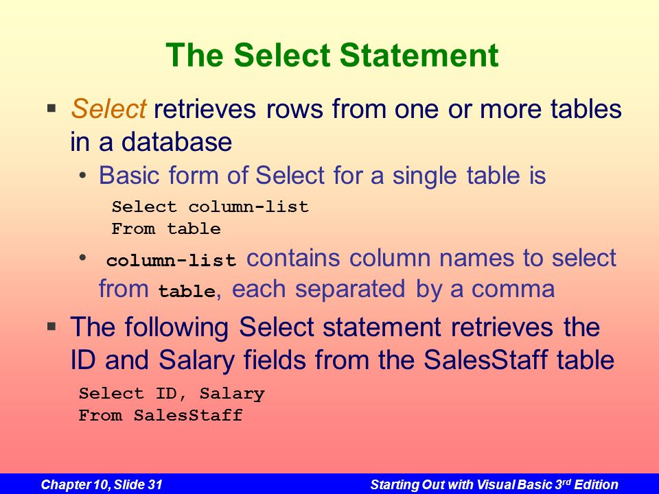 The Select StatementSelect retrieves rows from one or more tables in a database. Basic form of Select for a single table is.