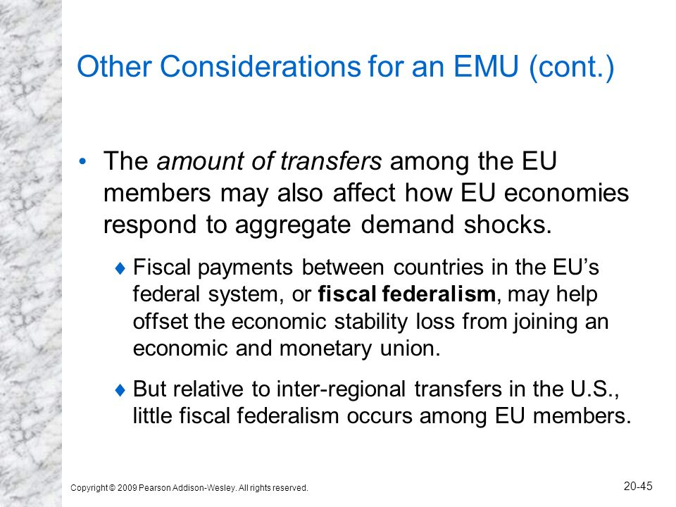 Other Considerations for an EMU (cont.)