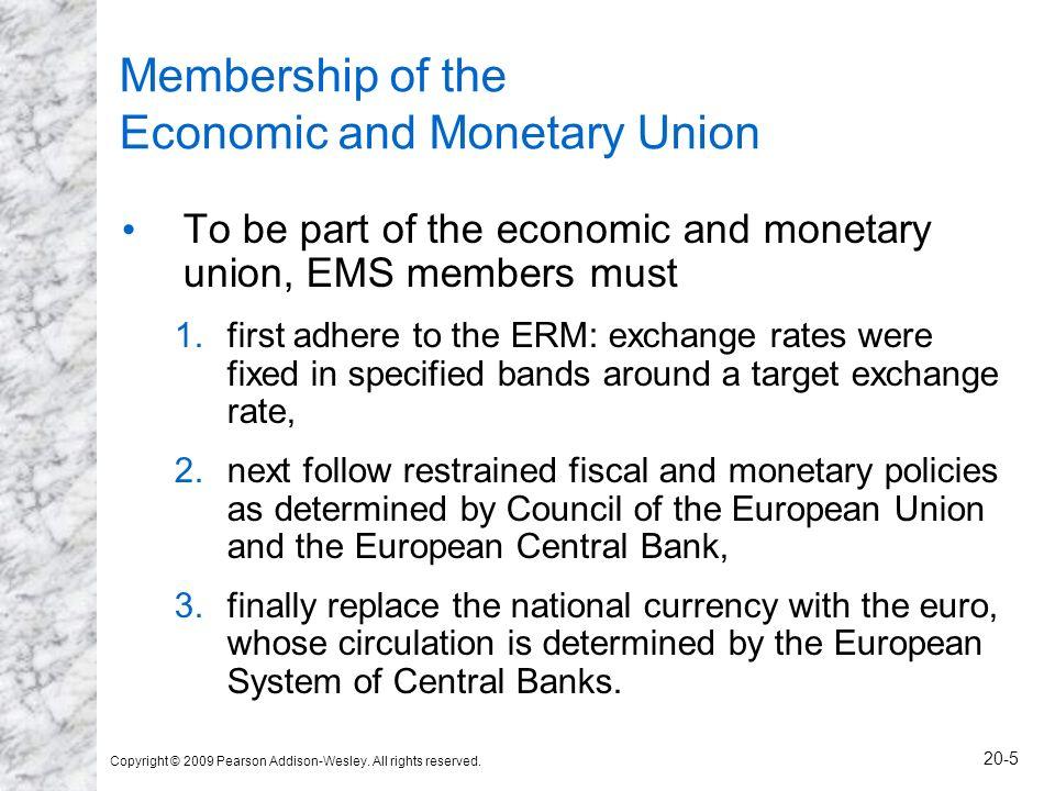 Membership of the Economic and Monetary Union