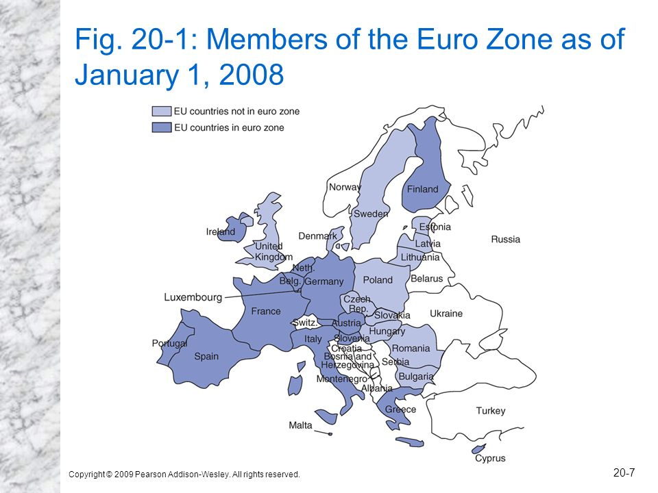 Fig. 20-1: Members of the Euro Zone as of January 1, 2008